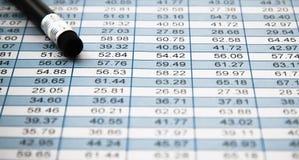 Svart blyertspenna med radergummit över en finansiell räknearktabell med rader som specificerar ökande stadigt nummer per kolonne arkivfoto