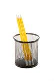 Svart blyertspennahållare med blyertspennor som isoleras på vit Royaltyfria Bilder