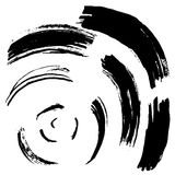 Svart borsteslaglängd i form av en cirkel Teckningen som skapas i färgpulver, skissar handgjord teknik bakgrund isolerad white Royaltyfria Foton