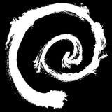Svart borsteslaglängd i form av en cirkel Teckningen som skapas i färgpulver, skissar handgjord teknik bakgrund isolerad white Arkivfoton