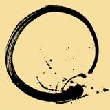 Svart borsteslaglängd i form av en cirkel Teckningen som skapas i färgpulver, skissar handgjord teknik bakgrund isolerad white Arkivfoto