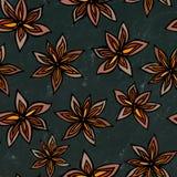 Svart brädebakgrund Anise Star Seed Seamless Endless modell bakgrundsmathalloween säsongsbetonad traditionell treat Krydda och an Arkivfoton