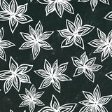 Svart brädebakgrund Anise Star Seed Seamless Endless modell bakgrundsmathalloween säsongsbetonad traditionell treat Krydda och an Fotografering för Bildbyråer