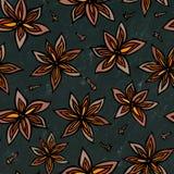 Svart brädebakgrund Anise Star Seed Seamless Endless modell bakgrundsmathalloween säsongsbetonad traditionell treat Krydda och an Royaltyfri Bild