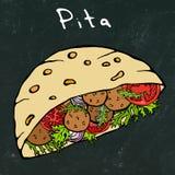 Svart brädebakgrund Falafelpitabröd eller köttbullesallad i fick- bröd Arabiska Israel Healthy Fast Food Bakery judiskt vektor illustrationer