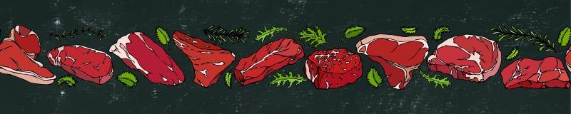 Svart brädebakgrund och krita Band av av populära bifftyper Stekhusrestaurangmeny illustratören för illustrationen för handen för Royaltyfri Foto