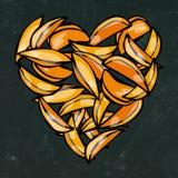 Svart brädebakgrund och krita Hjärta av potatiskilsmåfiskar Förälskelse läckra Fried Potatoes Fast Food Gataskräpmatvän Po vektor illustrationer