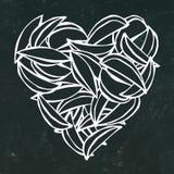 Svart brädebakgrund och krita Hjärta av potatiskilsmåfiskar Förälskelse läckra Fried Potatoes Fast Food Gataskräpmatvän Po stock illustrationer