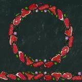 Svart brädebakgrund och krita Kransrundaram av populära bifftyper Stekhusrestaurangmeny illustratören för illustrationen för hand Arkivfoton