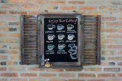 Svart brädemeny för kaffemeny Royaltyfri Foto
