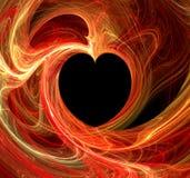 svart brännhet fractalhjärta Arkivfoton