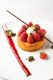 Svart breton eller mördegskaka med vaniljkräm- och halloncoulis på den vita maträtten Arkivfoto