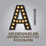Svart Broadway alfabet och nummervektor Arkivbilder