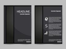Svart broschyrdesign stock illustrationer