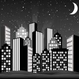 svart cityscapewhite Royaltyfri Bild