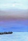 svart crimea havssolnedgång ukraine Original- olje- målning av stranden i Krim Handmålarfärgkonst royaltyfria bilder