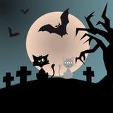 Svart cynikerkattdatummärkning med den romantiska gråa katten under royaltyfri illustrationer
