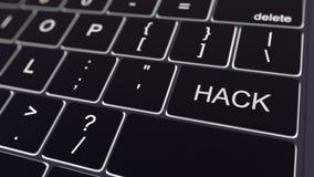 Svart datortangentbord och glödande hackatangent begreppsmässigt framförande 3d Royaltyfri Foto