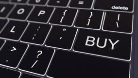 Svart datortangentbord och glödande köptangent begreppsmässigt framförande 3d Royaltyfria Foton