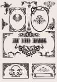 svart deco för konst fyra vita ramar Royaltyfri Bild