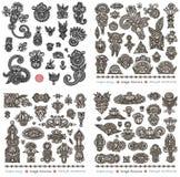 svart designblommaset royaltyfri illustrationer