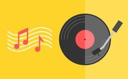 Svart diskett för vinylrekord med den röda tomma etiketten och med anmärkningar Modern plan stil Arkivfoto