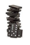 svart domino staplat torn Royaltyfria Bilder
