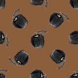 Svart dragen modell för äpple hand på brun bakgrund Arkivfoto