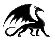 svart drake stock illustrationer