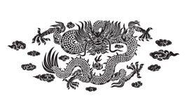 Svart drake för kines med molnet royaltyfri illustrationer