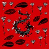Svart drake på en röd bakgrund royaltyfri illustrationer