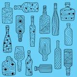Svart drog flaskor för tecknad film hand Arkivfoto