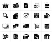Svart E-kommers och att shoppa symboler vektor illustrationer