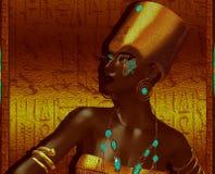 Svart egyptisk gudinnadrottning royaltyfria bilder