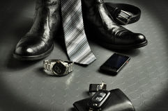 svart elegant läderstil Royaltyfri Foto