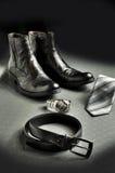 svart elegant läderstil Arkivbilder