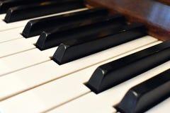 svart elfenben keys pianowhite Detaljer av pianotangentbordet royaltyfri bild