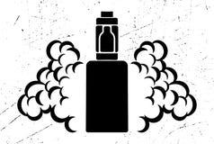 Svart emblem för vektor av den elektroniska cigaretten med ånga på en sliten eller skrapad bakgrund Royaltyfria Foton