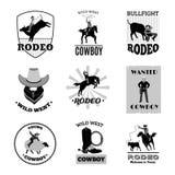 Svart emblemuppsättning för rodeo stock illustrationer