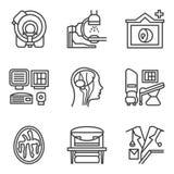 Svart enkel linje symbolsuppsättning för MRI Royaltyfri Fotografi
