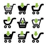 Svart enkel shoppingvagn, spårvagn med den gröna pilen, objekt Royaltyfri Foto