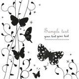 Svart enkelt blom- dekorativt hälsningkort med fjärilsvektorn Arkivfoto