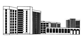 Svart eps10 för vit för illustration för byggnadsarkitekturvektor Arkivfoton