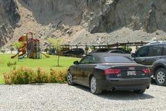 Svart färg konvertibla Audi A5 2 0T Quattro i Lima Arkivbilder