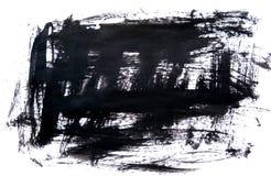 Svart färgpulverbakgrund som målas av borsten illustration abstrakta svarta borsteslaglängder på vitbok som en bakgrund grunge Arkivbilder