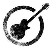 Svart färgpulverstämpel för gitarr vektor illustrationer