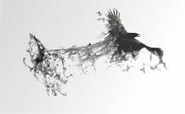 Svart fågel på en vit bakgrund stock illustrationer