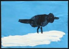 Svart fågel på vit snö barnteckning s Royaltyfri Foto