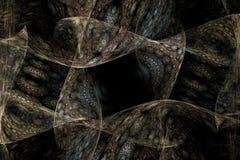 Svart för den Fraktal fractaltapeten och färgrika geometriska former illustrerar galaxen för explosionen för frekvens för utrymme arkivbild