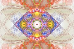 Svart för den Fraktal fractaltapeten och färgrika geometriska former illustrerar galaxen för explosionen för frekvens för utrymme royaltyfri bild